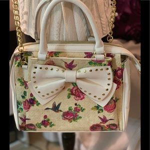 Betsy Johnson big bow Floral satchel